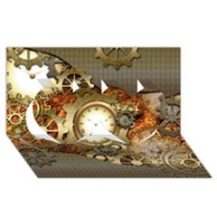 Steampunk, Wonderful Steampunk Design With Clocks And Gears In Golden Desing Twin Hearts 3D Greeting Card (8x4)