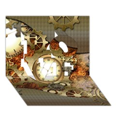 Steampunk, Wonderful Steampunk Design With Clocks And Gears In Golden Desing LOVE 3D Greeting Card (7x5)