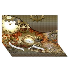 Steampunk, Wonderful Steampunk Design With Clocks And Gears In Golden Desing Twin Heart Bottom 3d Greeting Card (8x4)