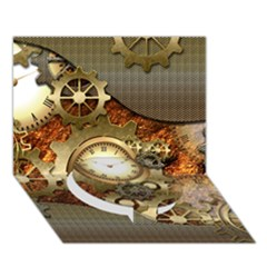 Steampunk, Wonderful Steampunk Design With Clocks And Gears In Golden Desing Circle Bottom 3d Greeting Card (7x5)