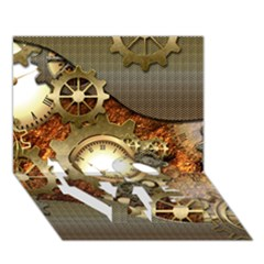 Steampunk, Wonderful Steampunk Design With Clocks And Gears In Golden Desing LOVE Bottom 3D Greeting Card (7x5)