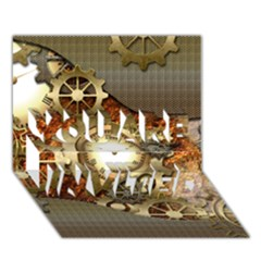 Steampunk, Wonderful Steampunk Design With Clocks And Gears In Golden Desing YOU ARE INVITED 3D Greeting Card (7x5)