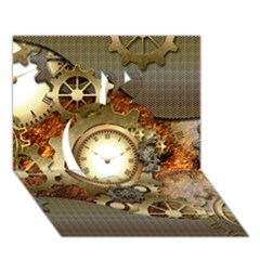 Steampunk, Wonderful Steampunk Design With Clocks And Gears In Golden Desing Apple 3d Greeting Card (7x5)
