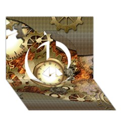 Steampunk, Wonderful Steampunk Design With Clocks And Gears In Golden Desing Peace Sign 3d Greeting Card (7x5)