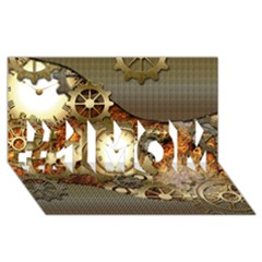 Steampunk, Wonderful Steampunk Design With Clocks And Gears In Golden Desing #1 MOM 3D Greeting Cards (8x4)