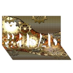 Steampunk, Wonderful Steampunk Design With Clocks And Gears In Golden Desing #1 DAD 3D Greeting Card (8x4)