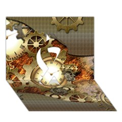 Steampunk, Wonderful Steampunk Design With Clocks And Gears In Golden Desing Ribbon 3D Greeting Card (7x5)