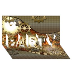 Steampunk, Wonderful Steampunk Design With Clocks And Gears In Golden Desing Party 3d Greeting Card (8x4)