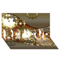 Steampunk, Wonderful Steampunk Design With Clocks And Gears In Golden Desing BELIEVE 3D Greeting Card (8x4)