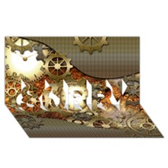Steampunk, Wonderful Steampunk Design With Clocks And Gears In Golden Desing SORRY 3D Greeting Card (8x4)