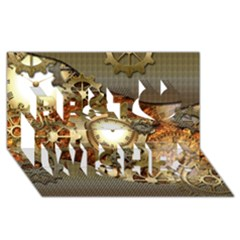 Steampunk, Wonderful Steampunk Design With Clocks And Gears In Golden Desing Best Wish 3D Greeting Card (8x4)