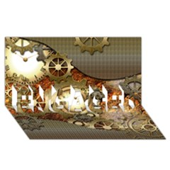Steampunk, Wonderful Steampunk Design With Clocks And Gears In Golden Desing Engaged 3d Greeting Card (8x4)