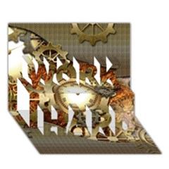 Steampunk, Wonderful Steampunk Design With Clocks And Gears In Golden Desing Work Hard 3d Greeting Card (7x5)