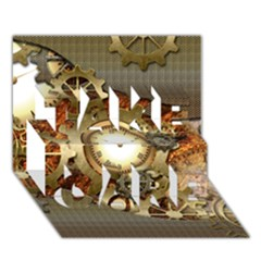 Steampunk, Wonderful Steampunk Design With Clocks And Gears In Golden Desing TAKE CARE 3D Greeting Card (7x5)