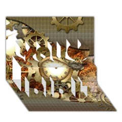 Steampunk, Wonderful Steampunk Design With Clocks And Gears In Golden Desing You Did It 3D Greeting Card (7x5)