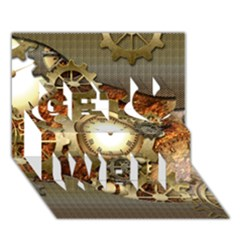 Steampunk, Wonderful Steampunk Design With Clocks And Gears In Golden Desing Get Well 3d Greeting Card (7x5)