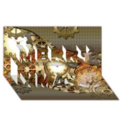 Steampunk, Wonderful Steampunk Design With Clocks And Gears In Golden Desing Merry Xmas 3D Greeting Card (8x4)