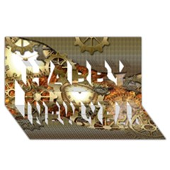 Steampunk, Wonderful Steampunk Design With Clocks And Gears In Golden Desing Happy New Year 3D Greeting Card (8x4)