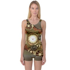 Steampunk, Wonderful Steampunk Design With Clocks And Gears In Golden Desing Women s Boyleg One Piece Swimsuits