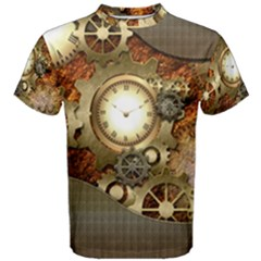 Steampunk, Wonderful Steampunk Design With Clocks And Gears In Golden Desing Men s Cotton Tees