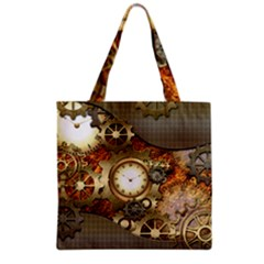 Steampunk, Wonderful Steampunk Design With Clocks And Gears In Golden Desing Grocery Tote Bags