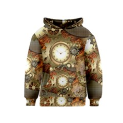 Steampunk, Wonderful Steampunk Design With Clocks And Gears In Golden Desing Kid s Pullover Hoodies