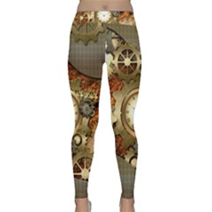Steampunk, Wonderful Steampunk Design With Clocks And Gears In Golden Desing Yoga Leggings
