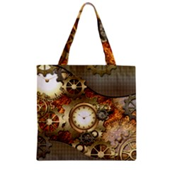 Steampunk, Wonderful Steampunk Design With Clocks And Gears In Golden Desing Zipper Grocery Tote Bags