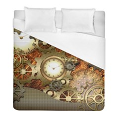 Steampunk, Wonderful Steampunk Design With Clocks And Gears In Golden Desing Duvet Cover Single Side (twin Size)