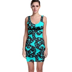 Teal on Black Funky Fractal Bodycon Dresses