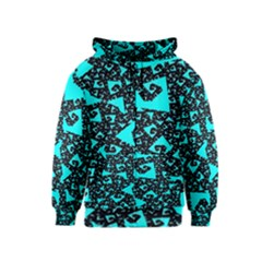 Teal On Black Funky Fractal Kids Zipper Hoodies