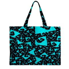 Teal on Black Funky Fractal Zipper Tiny Tote Bags