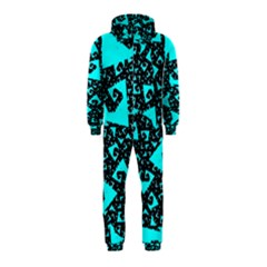 Teal on Black Funky Fractal Hooded Jumpsuit (Kids)