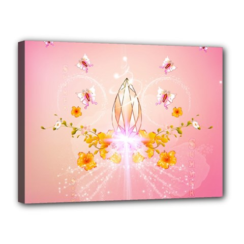 Wonderful Flowers With Butterflies And Diamond In Soft Pink Colors Canvas 16  x 12