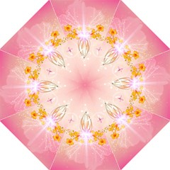 Wonderful Flowers With Butterflies And Diamond In Soft Pink Colors Folding Umbrellas