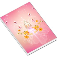 Wonderful Flowers With Butterflies And Diamond In Soft Pink Colors Large Memo Pads