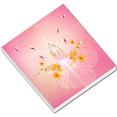 Wonderful Flowers With Butterflies And Diamond In Soft Pink Colors Small Memo Pads