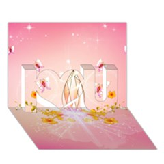 Wonderful Flowers With Butterflies And Diamond In Soft Pink Colors I Love You 3D Greeting Card (7x5)