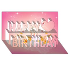 Wonderful Flowers With Butterflies And Diamond In Soft Pink Colors Happy Birthday 3D Greeting Card (8x4)