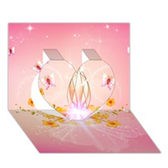 Wonderful Flowers With Butterflies And Diamond In Soft Pink Colors Heart 3d Greeting Card (7x5)