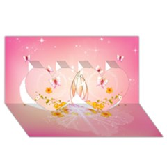 Wonderful Flowers With Butterflies And Diamond In Soft Pink Colors Twin Hearts 3D Greeting Card (8x4)
