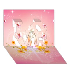 Wonderful Flowers With Butterflies And Diamond In Soft Pink Colors LOVE 3D Greeting Card (7x5)