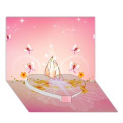Wonderful Flowers With Butterflies And Diamond In Soft Pink Colors Heart Bottom 3D Greeting Card (7x5)