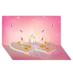 Wonderful Flowers With Butterflies And Diamond In Soft Pink Colors Twin Heart Bottom 3D Greeting Card (8x4)