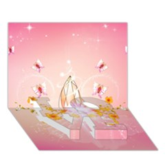 Wonderful Flowers With Butterflies And Diamond In Soft Pink Colors Love Bottom 3d Greeting Card (7x5)