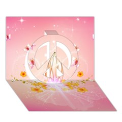 Wonderful Flowers With Butterflies And Diamond In Soft Pink Colors Peace Sign 3D Greeting Card (7x5)