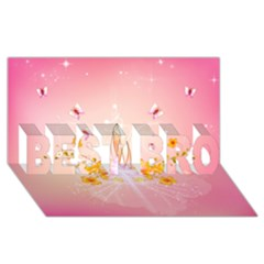 Wonderful Flowers With Butterflies And Diamond In Soft Pink Colors BEST BRO 3D Greeting Card (8x4)