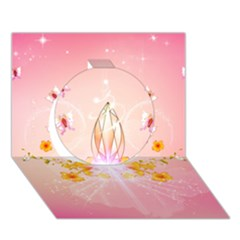 Wonderful Flowers With Butterflies And Diamond In Soft Pink Colors Circle 3d Greeting Card (7x5)