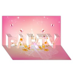 Wonderful Flowers With Butterflies And Diamond In Soft Pink Colors PARTY 3D Greeting Card (8x4)