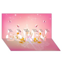 Wonderful Flowers With Butterflies And Diamond In Soft Pink Colors SORRY 3D Greeting Card (8x4)